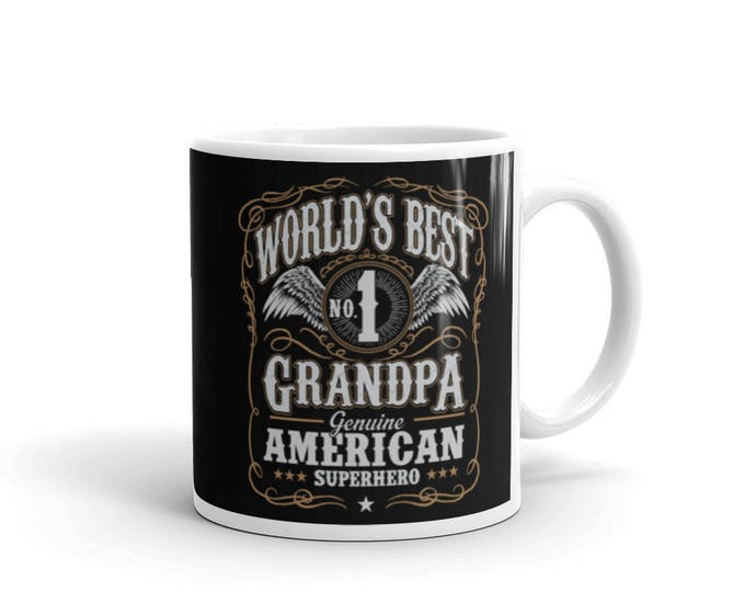 World's Best No 1 Grandpa American Superhero Coffee Mug