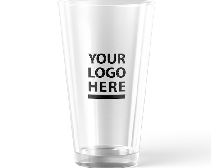 Custom Pint Glass, Beer glass customizable with your text logo and image printed on it