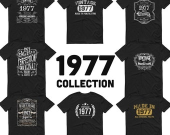 1977 Birthday Gift, Vintage Born in 1977 t-shirt, 44th Birthday shirt, Made in 1977 T-shirt, 44 Year Old Birthday Shirt 1977 Collection