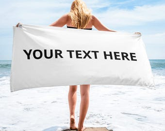 Custom beach towel   Personalized Beach Towels - Towel Gift with saying picture Photo for Adult girls boys   personalize beach towel adult