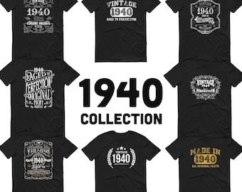1940 Birthday Gift, Vintage Born in 1940 t-shirt for men, 81st Birthday, Made in 1940 T-shirt, 81 Year Old Birthday Shirt - 1940 Collection