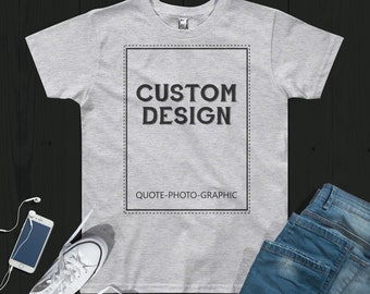 Personalized Youth Short Sleeve T-Shirt  - Custom t shirt photo - Customize With your photo - Logo - Graphic custom text quote self gift