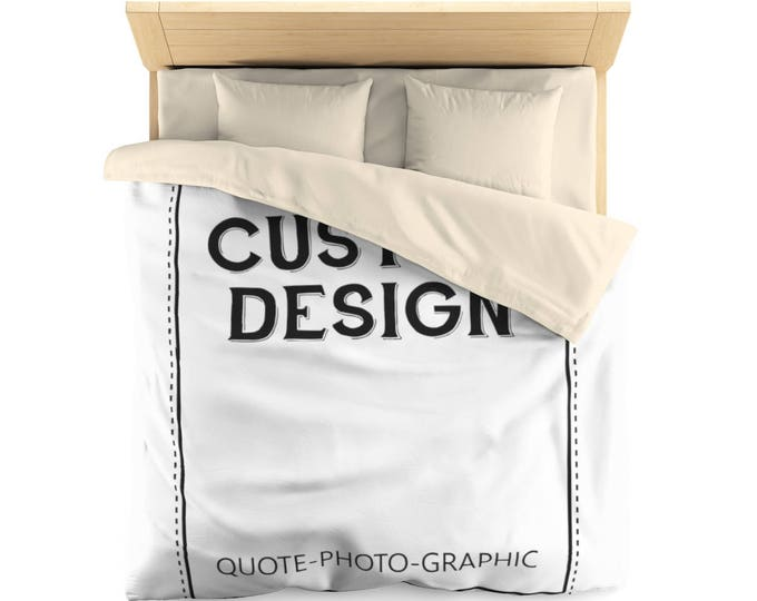 Personalized Microfiber Duvet Cover  Customize With your photo Logo Graphic custom text quote Custom Microfiber Duvet Cover self gift