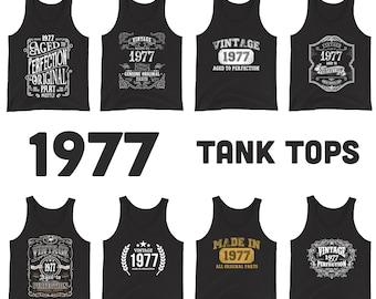 1977 Birthday Gift, Vintage Born in 1977 Tank tops for men women, 44th Birthday Tanks for him her Made in 1977 Tank top 44 Year Old Birthday