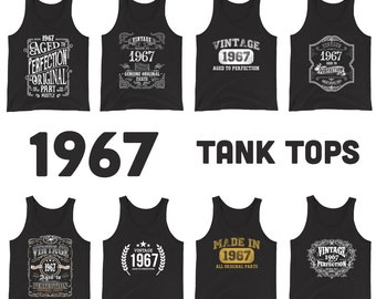 1967 Birthday Gift, Vintage Born in 1967 Tank tops for men women, 54th Birthday shirt for him her, Made in 1967 Tanks 54 Year Old Birthday