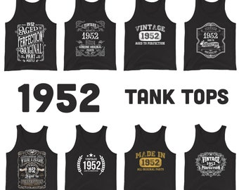 1952 Birthday Gift, Vintage Born in 1952 Tank tops for women men, 69th Birthday shirt for her him, Made in 1952 Tanks, 69 Year Old Birthday