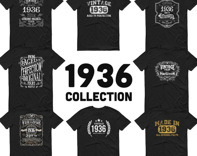 1936 Birthday Gift, Vintage Born in 1936 t-shirt for men, 85th Birthday, Made in 1936 T-shirt, 85 Year Old Birthday Shirt - 1936 Collection