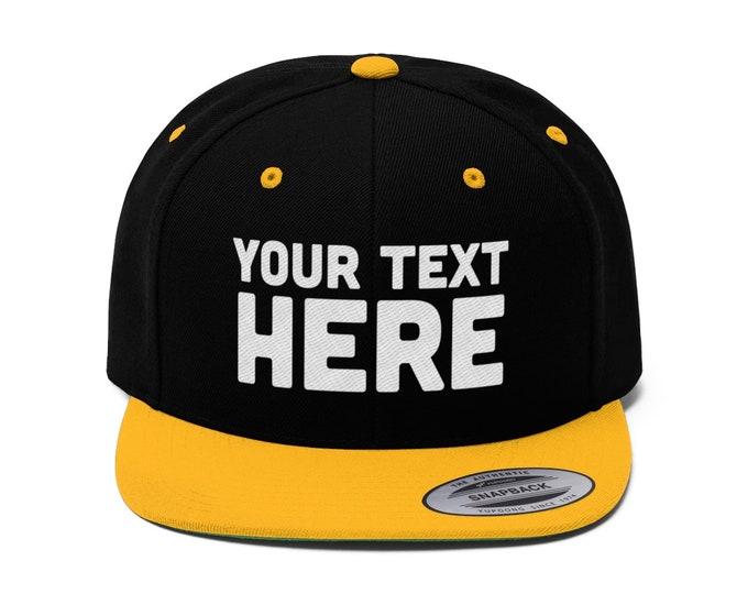 Custom snapback Custom Flat Bill Hat, Snapback Cap, Custom TEXT Embroidered Hat, Personalized Hat Personalized Snapback Hat - Your Text Here