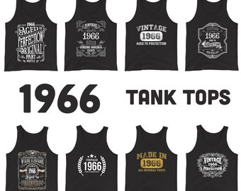 1966 Birthday Gift, Vintage Born in 1966 Tank tops for men women, 55th Birthday shirt for him her, Made in 1966 Tanks, 55 Year Old Birthday