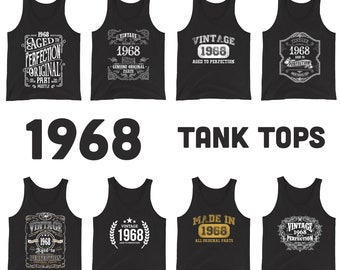 1968 Birthday Gift, Vintage Born in 1968 Tank tops for women men, 53rd Birthday shirt for her him, Made in 1968 Tanks, 53 Year Old Birthday