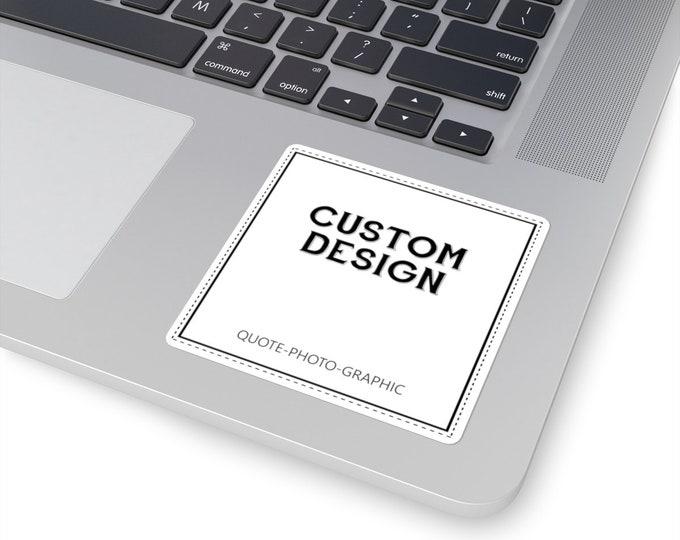 Custom Square Stickers, Custom Laptop Sticker, wedding sticker logo  Personalized white transparent Sticker Name iphone case Macbook