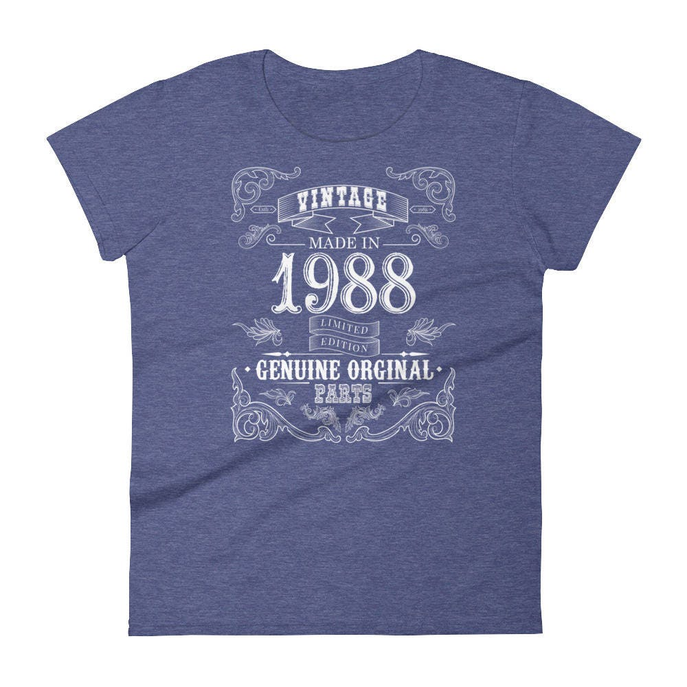 1988 Birthday Gift Vintage Born In T Shirt For Women 30th
