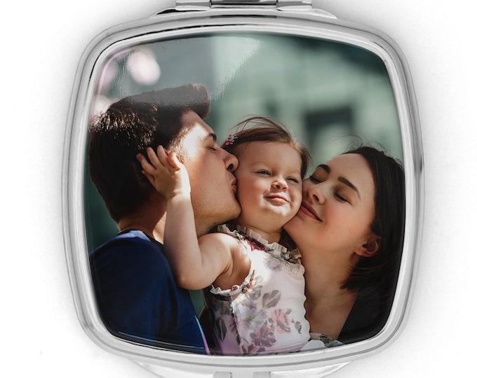 Compact Mirror Personalized, Round   Square Pocket cosmetic Mirror, Handbag purse Makeup mirror, Small Custom bridesmaid Mirror gift