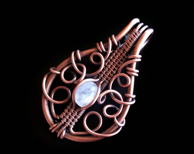 Featured listing image: Rainbow Moonstone Pendant Copper Wire Wrapped Amulet Handmade