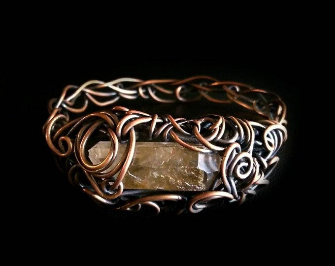 Featured listing image: Smokey Quartz Point Copper Wire Wrapped Bangle Bracelet. Handmade OOAK Chakra Healing
