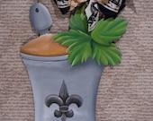 Mint Julep Cup Hand Painted Wooden Door Hanger with Fleur de Lis adornment Door Hanger Derby Wreath Kentucky Derby Wreath