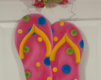 695ad248c53 Flip Flops - Pink w Multi-Color Polka Dots