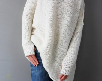 731d53cb1 Off white Oversized Slouchy Loose woman knit sweater. Chunky knit Alpaca  white women sweater.Thumb holes