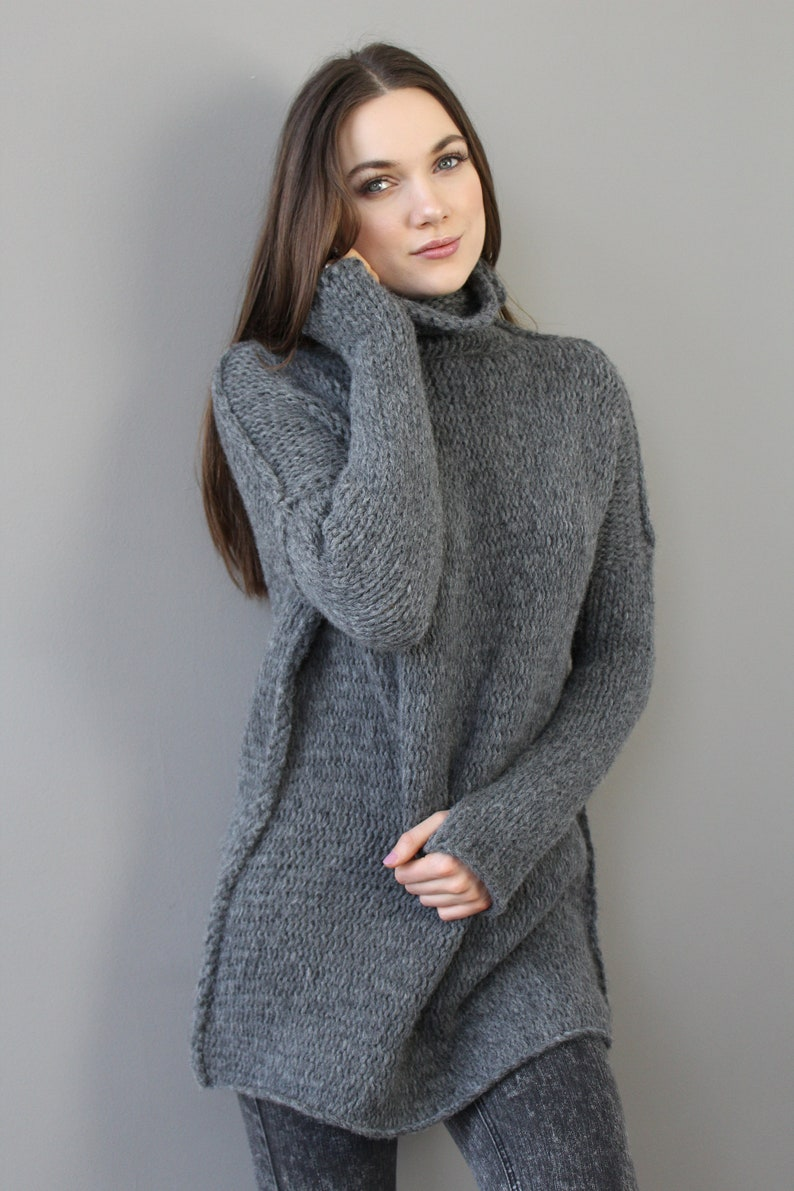 ebcacd3f52d Grey Alpaca Oversized Slouchy Loose woman knit sweater.