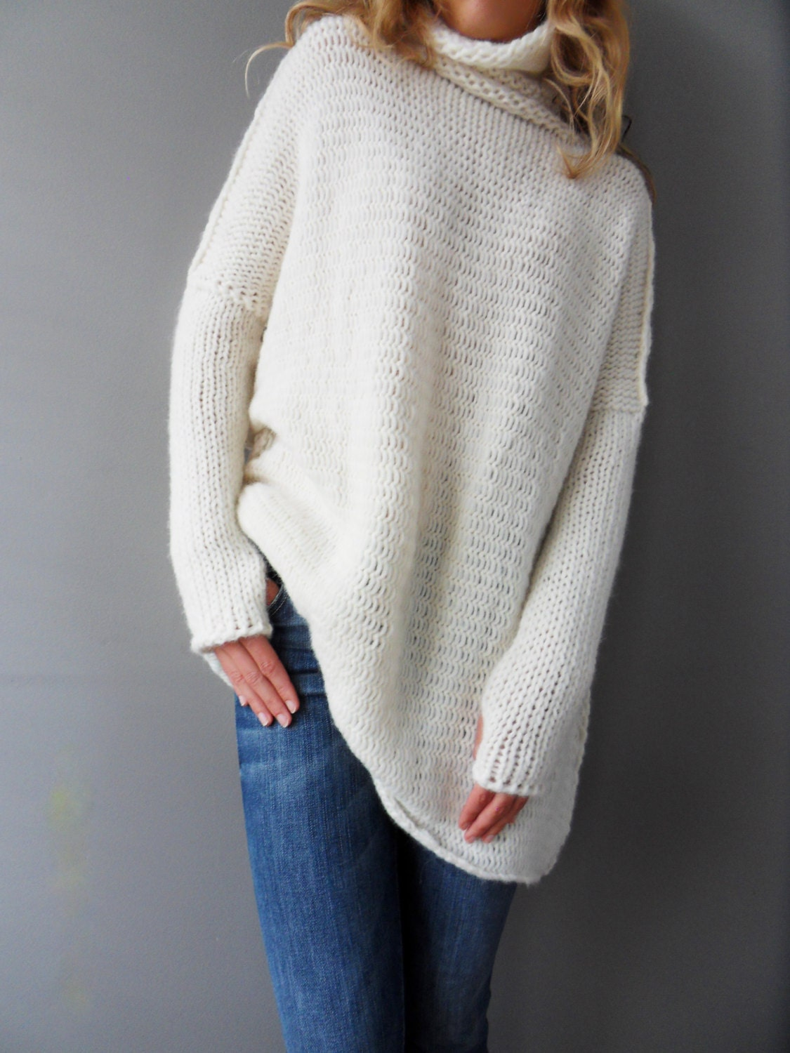 34f8e8058126c5 Off white Oversized Slouchy Loose woman knit sweater. Chunky
