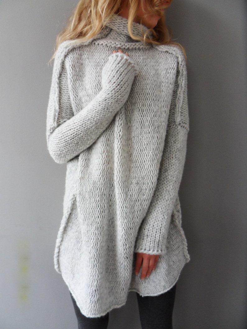 171e2739b49 Oversized Chunky Alpaca Wool woman knit sweater. Thumb holes sweater.  Turtleneck sweater.