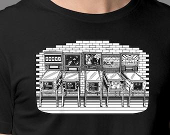 Pinball T-Shirt | Hand Drawn Pinball Shirt Of Pinball Machines In Arcade | Original Pinball Shirt | Pinball Or Arcade Gift | Epic Game Wear