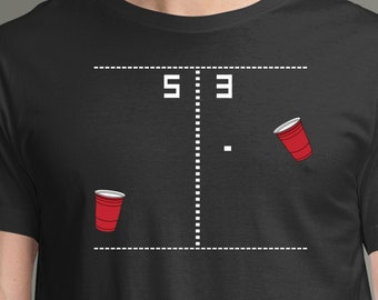 Video Game T-Shirt | Beer Pong...PONG T-Shirt | The Classic Pong Video Game Mixed With Beer Pong | Funny Beer Shirt or Arcade Shirt
