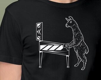 Llama Pinball T-Shirt   Llama Shirt With Cute Little Guy Playing Pinball   Original Pinball Shirt   Unique Pinball Gift   Epic Game Wear