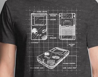 Blueprint Nintendo Gameboy T-Shirt | Unique Video Game T-Shirt | Interpretation of Gameboy Nintendo Shirt | Video Game Gift | Epic Game Wear
