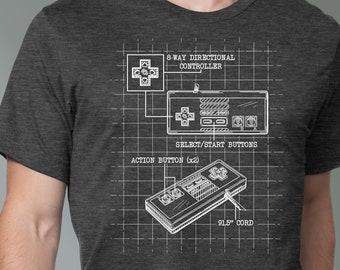 Nintendo NES Controller Blueprint T-Shirt | Original Concept Nintendo T-Shirt | Unique Video Game Shirt | Great Game Gift | Epic Game Wear