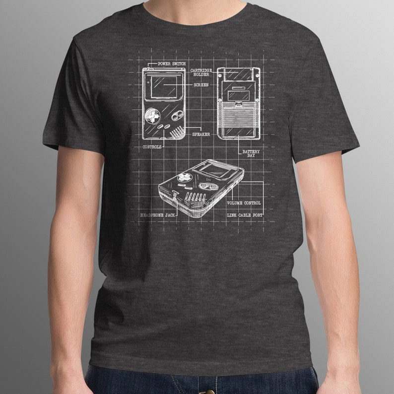 Blueprint Nintendo Gameboy T-Shirt  Unique Video Game T-Shirt image 0