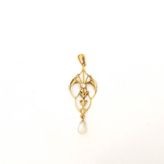 Art Nouveau Lavalier Gold Pendant with Faux Diamon