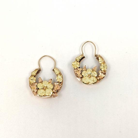 Art Nouveau Gold Floral Hoop Earrings