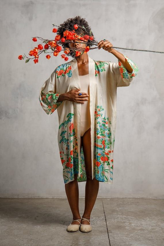 1920s Pongee Silk Robe