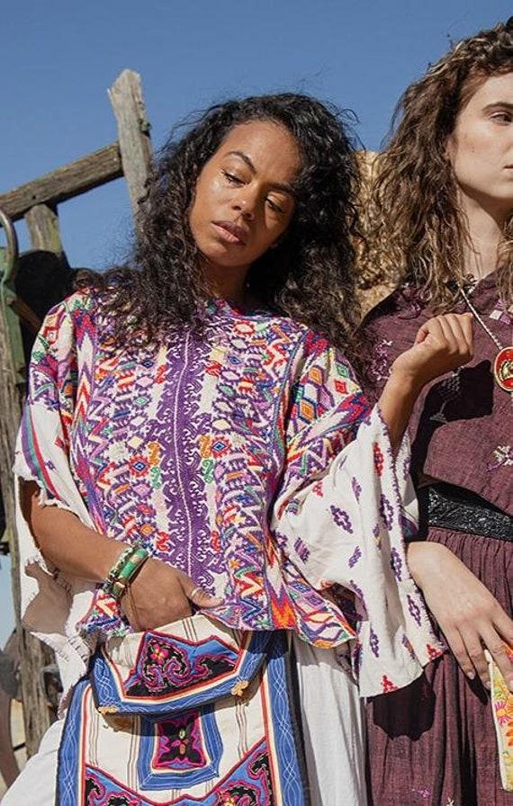 Margarita - Vintage Woven Mexican Poncho