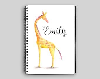 Giraffe Notebook // Personalized Giraffe Journal // Giraffe Spiral Notebook // Giraffe Name Notebook // Giraffe Gift // Custom Gift