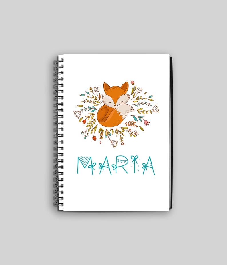 Fox with Flowers Notebook // Personalized Fox Journal // image 0