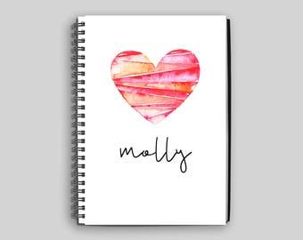 Custom Notebook // Personalized Journal // Custom Diary // Heart Notebook // Children's Notebook // Personalized Child's Gift // Diary