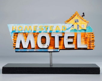 Homestead Motel Neon sign photo / vintage motel sign / vintage neon sign / retro decor / mid century modern / neon cutout /neon reproduction