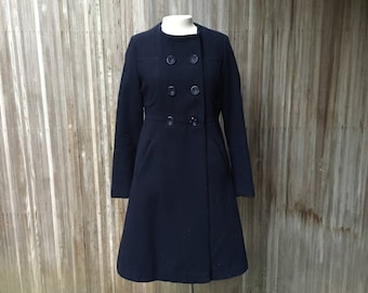Mod Double Breasted Coat in Navy Wool