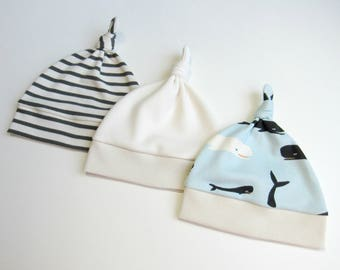 aa9499ec268 Organic beanie-Baby boy beanie-Baby knot hats-Baby whales knot hat-Newborn  organic beanie-Baby stripes hat-Baby gender neutral hat