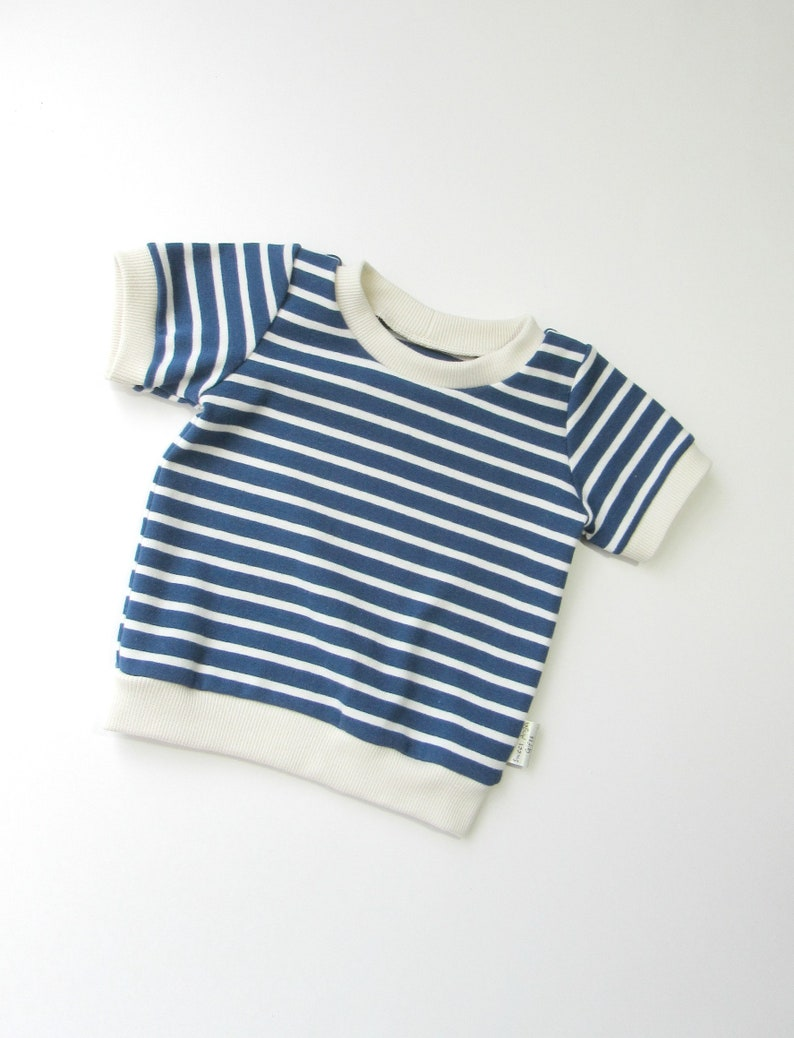 a20e1c1d2 Navy cream stripes tee shirt-ORGANIC Baby tee-Short sleeve