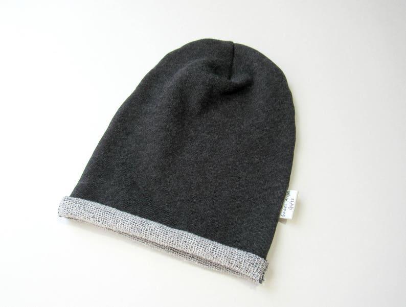 48c25e3edfe Dark grey slouchy beanie-Baby boy slouch beanie-French terry