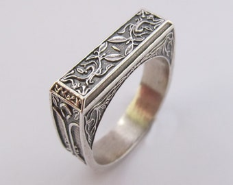 Knight Slayer's Ring - Dark Antiqued Solid Sterling Silver - Gothic motif design - Souls Series - Knight Slayers Ring