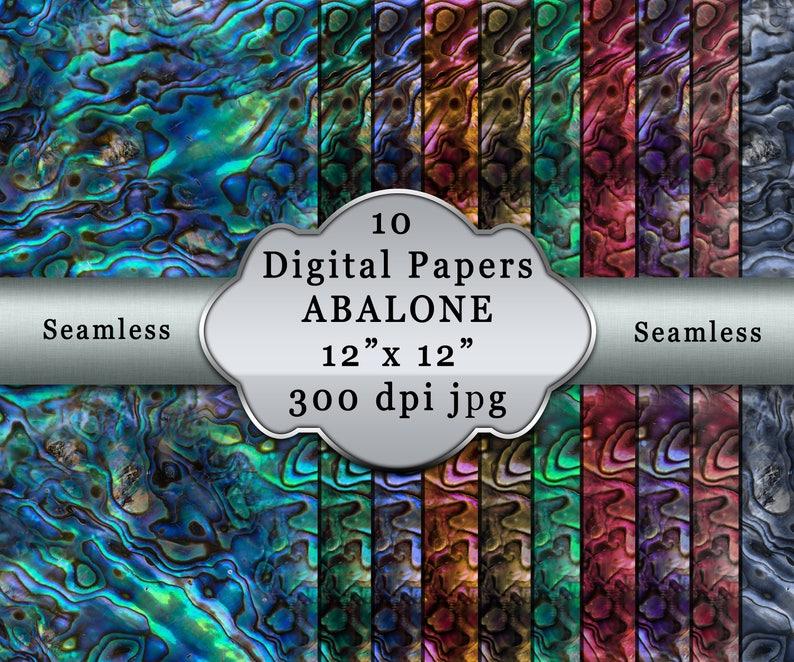 Digital Paper Seamless ABALONE Scrapbooking  Abalone Seamless Pattern  Digital Paper Pack  Seamless  Ocean Tones  Abalone Theme  Seashell