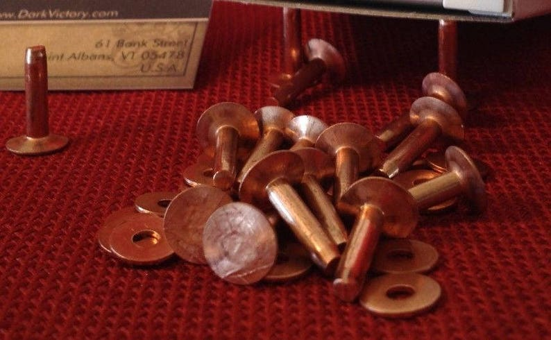 choice of quantity 1 14 12 1 Copper #9 Rivets and Burrs 78 /& 1 12 Lengths: 38 58
