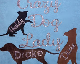 Personalized Crazy Dog Lady T-shirt