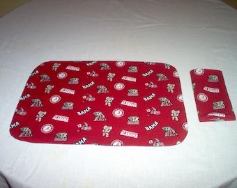 Handmade Placemat And Napkin Made Using Alabama Fabric