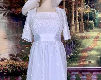 White on white Embroidered Edwardian gown