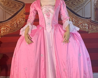"""One of a kind Jewel Embellished silk Marie Antoinette Rococo gown (36"""" bust, 28"""" waist)"""